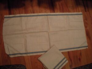 2 Pieces Of Antique Linen Blue Yellow Stripe Toweling Towels