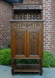 Antique French Renaissance Carved Gothic Vestry Wine Altar Cabinet Bar Bookcase