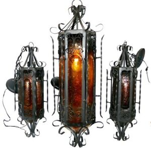 Set Of 3 Wrought Iron Art Stained Glass Spanish Hanging Pendants Lights Lamps