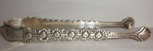 Antique English Sterling Silver Sugar Tongs Floral Repousse