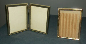 Lot Of 2 Vintage Detailed Brass Metal 2 1 2 X 3 1 2 Picture Frames 1 Double