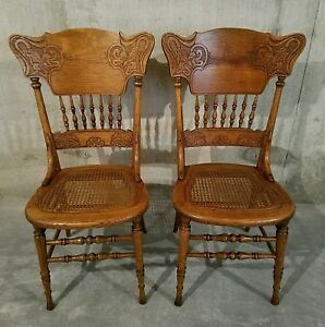 Old Antique Pair Quartersawn Oak Pressed Back Art Nouveau Iris Victorian Chairs