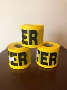 12 Yellow Caution Do Not Enter Barricade Tape 3 x 300 Bright Yellow Black 2 Mil