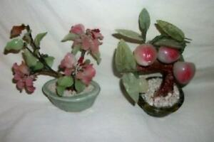 Vintage Carved Jade Oriental Art Glass Oriental Bonsai Tree Pr Plum And Blossoms