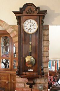 Antique German Single Weight Walnut Case 8 Day Vienna Wall Clock 19th Century
