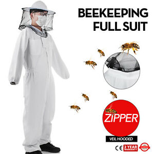 Beekeeping Full Suit Round Veil hooded Zipper Ventilated Breathable Protective