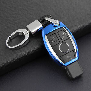 For Mercedes Benz Car Key Fob Chain Ring Cover Case Keychain Accessories Blue