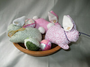 Set Of 3 Primitive Bowl Fillers Ornies Easter Bunny Rabbits W 3 Easter Eggs