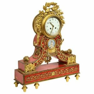 Gorgeous French Ormolu Gilt Bronze Mounted Red Painted Mantel Clock 1870