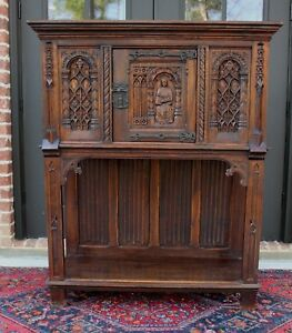 Antique French Carved Oak Gothic Sacristy Vestry Altar Wine Cabinet Bar Catholic
