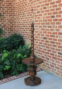 Antique English Oak Barley Twist Floor Lamp With End Table C 1930s Rewired 1
