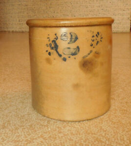 Antique Stoneware Crock Salt Glaze 2 With Design 1800s Early