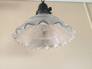 Vintage Pair Ruffled Marked Holophane Pendant Lights Industrial Art Deco