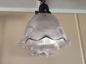 Vintage Pair Ruffled Glass Holophane Ribbed Pendant Lights Industrial Art Deco