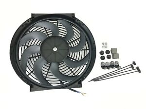 14 Inch S Universal Slim Fan Push Pull Electric Radiator Cooling W Mount Kit