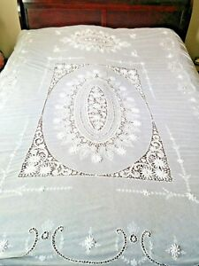 Antique French Tambour Embroidered Net Lace Bedspread Coverlet 95 X 67