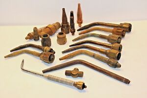 Lot Of 18 Welding Torch Heads Attachments Victor 3 Type 1 2 Harris 16 2e 22 G 70