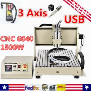 3 Axis Usb Cnc 6040 Router 1500w Drill Mill Engraver Engraving Machine handwheel