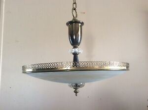 Vintage Mid Century Large Ceiling Light Chandelier Etched Frosted Glass 2 Of 2