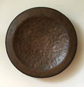 Antique Hammered Copper Bowl Footed Arts And Crafts