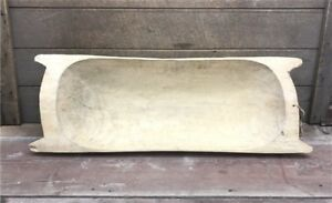 Large Antique Wooden Dough Bowl Trencher French Carved Dough Bowl With Handles