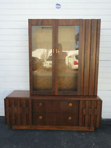 Brutalist Mid Century Modern Cubist Two Part China Display Cabinet By Lane 9510