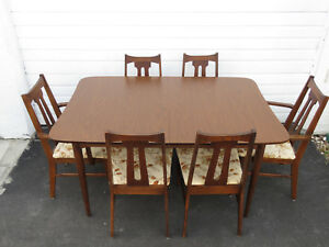 Mid Century Modern Set Of Dining Table And Six Chairs By Bassett Furniture 9436x