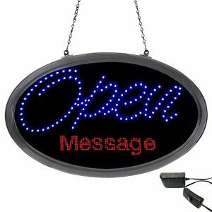 Artistic Oval Led Open Sign With Wifi Programmable Scrolling Led Message Hanging