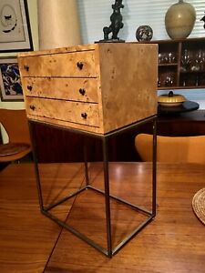 Milo Baughman Mid Century Modern Burl Jewelry Chest Cabinet Side Table
