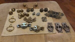 Mixed Lot 27 Vtg Antq Brass Drawer Pulls Dresser Knobs Bat Restoration Salvage