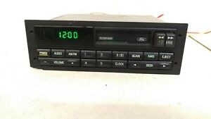 Ford Oem Cassette Player Am Fm Radio W Clock Mustang F150 Contour Ranger 90 96
