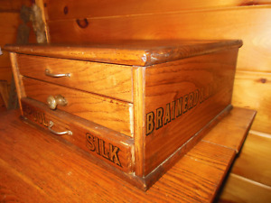 Vintage Wooden 3 Drawer Spool Thread Cabinet Brainerd Armstrong