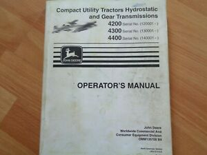John Deere 4200 4300 4400 Tractor Factory Operators Manual Oem