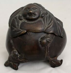Japanese Meiji Period Bronze Lidded Koro Incense Burner Hotei Budai Figure