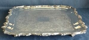 14 Square Footed Silverplate Serving Tray Inscribed On Back