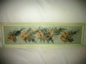 Yard Long Painting With Dried Flowers Framed Stunning Mid Century Cottage