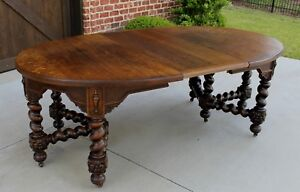 Antique English Oak Barley Twist Table Oval Jacobean Dining Farmhouse W Leaf