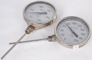 Lot Of 2 Weston 4510 Thermometer Temperature Gauge 0 200f 0 300f