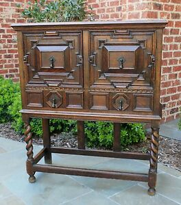 Antique English Barley Twist Cabinet Bookcase Wine Bar Tiger Oak Jacobean