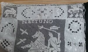 Antique Pillow Sham Italian Drawn Thread Work Lace Nettuno Mythical Animals