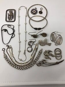 Fun Lot Wearable Lot Of Estate Vintage Sterling Silver 925 Jewelry Not Scrap