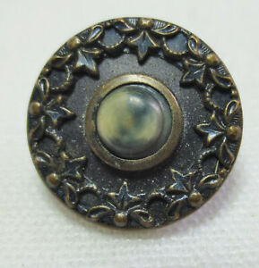 Antique Button Brass Diminutive Celluloid Birds Eye Center With Twinkle Border