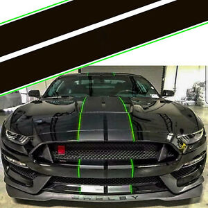 Black Green Accent Rally Strip Graphics Decals For 2015 2018 2019 Ford Mustang