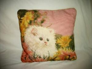 Vintage Needlepoint Pillow White Cat Kitten Flowers Pink Chic Shabby Cottage