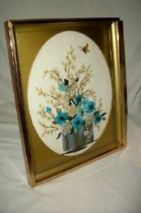 Vintage Aqua Polished Stone Art Collage Flowers Picture Shadow Box Mid Century