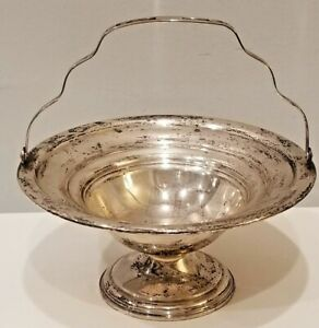 International Sterling Silver Footed Compote Candy Dish With Hinged Handle
