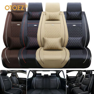 Universal Deluxe 5 seats Car Seat Cover Front Pu Leather rear Cushion W pillow