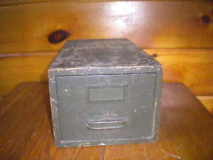 Vintage Wooden File Box Old Green Paint
