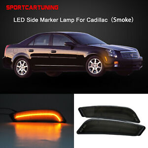 Front Bumper Led Side Marker Light Smoke Lens For 2003 2007 Cadillac Cts Cts V