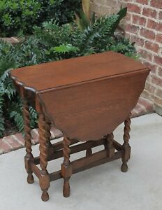Antique English Barley Twist Table Gate Leg Drop Leaf End Table Tiger Oak